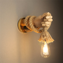 Wall-Light Rope Fixture Corridor Industrial-Style Retro Creative Indoor Hemp E27 Hand-Shape
