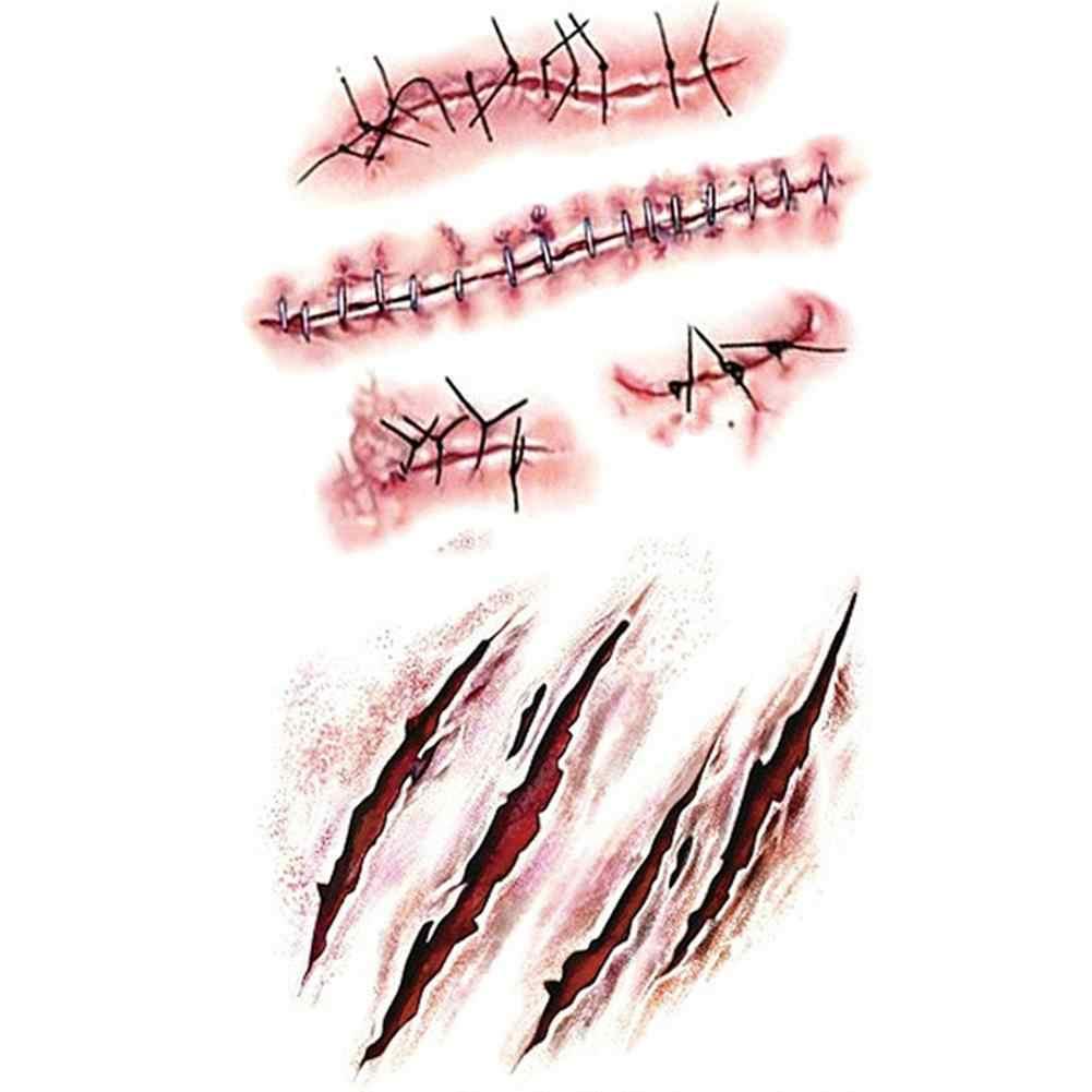 1/8 Pcs Baru 2019 Tahan Air Sementara Tato Stiker Halloween Luka Realistis Darah Cedera Scar Tato Palsu Stiker