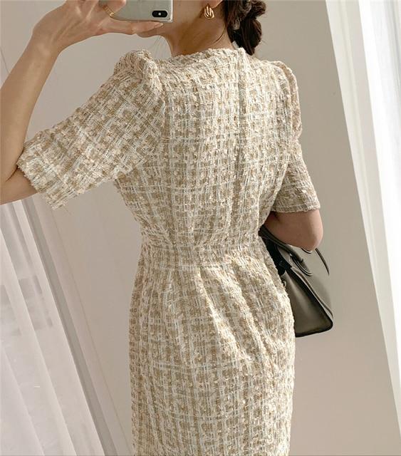 Colorfaith/Новинка 2021 года; Женские летние платья; Модное Элегантное клетчатое винтажное мини-платье с высокой талией и пышными рукавами; DR2152 3