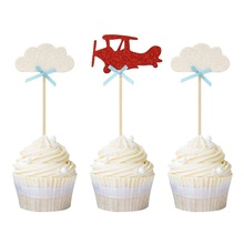 24pcs Plane Cloud Cupcake Toppers Travel Theme Wedding Birthda Party Cake Topper Baby Boy Girl Free Shipping