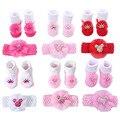 2 Teile/satz Baby Socken Für Mädchen Bebe Kleinkind Neugeborenen Socke + Bogen Stirnband Infant Anti Slip Baumwolle Socken Kleber Geburtstag socke 0-1Years