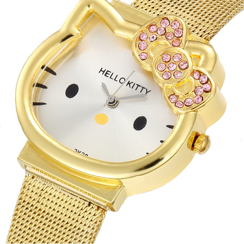 The New  Hello Kitty  Cartoon  Steel Belt  Children Watch  The Girl  Quartz Watch  Cartoon Kids Watches