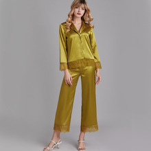 Pajamas Sets Women Lace Sleepwear Sleep Suit Flower Robe Negligee Top Shirt Pant