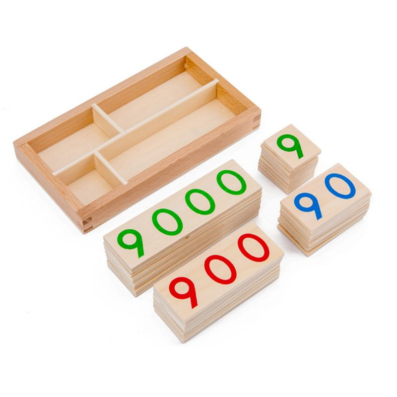 Children Wooden Number 1-9000 Cards Montessori Toys Early Math Education For Kid R7RB