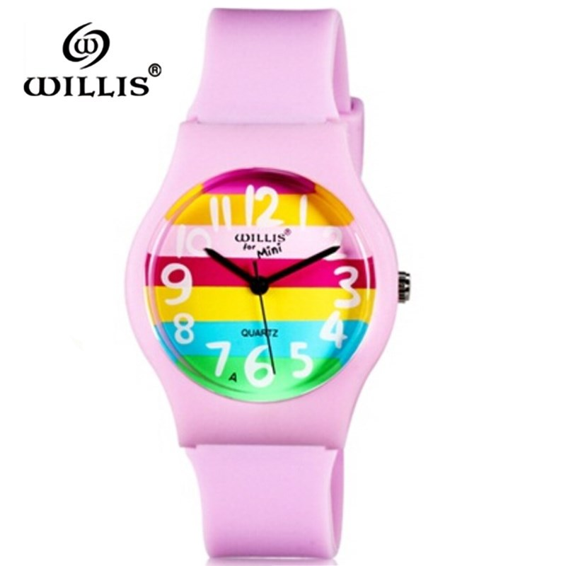 WILLIS Brand Watches Women Rainbow Design Lovely Color Quartz Clock Watch Kid Life Waterproof Sport Wristwatch Relogio Feminino