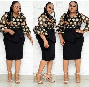 Image 2 - 2 חתיכה להגדיר אפריקאי סגנון שמלות לנשים 2020 אפריקה בגדים אלגנטי אנקרה שמלות אופנה אפריקאי שמלה עבור גברת