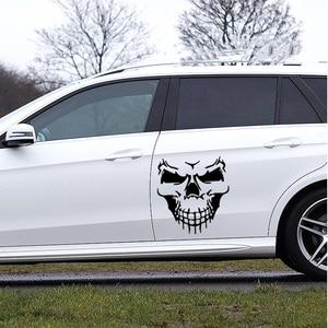Image 4 - スカルヘッド車のステッカーやデカール反射ビニール車のスタイリング自動車エンジンフードドアデカールビッグサイズ 40 × 36 センチメートル
