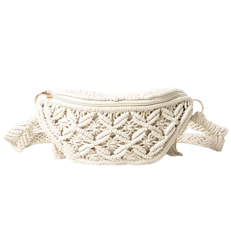 LJL-Bum Bag Cotton Woven Outdoor Wallet Summer Beach Vacation Bag Handbag Tassel Shoulder Messenger Bag Lady Woven Handbag Chest