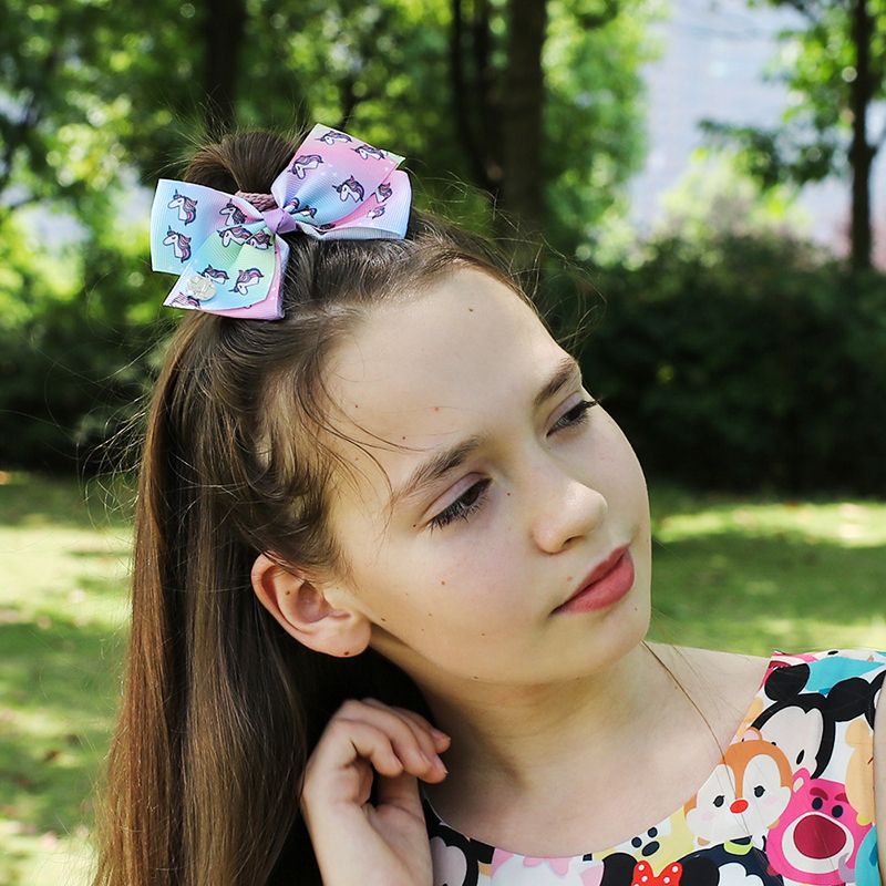 Ribbon-Bow Hair-Clip Knot Rainbow-Printed Jojo Siwa Boutique Girls Children Handmade