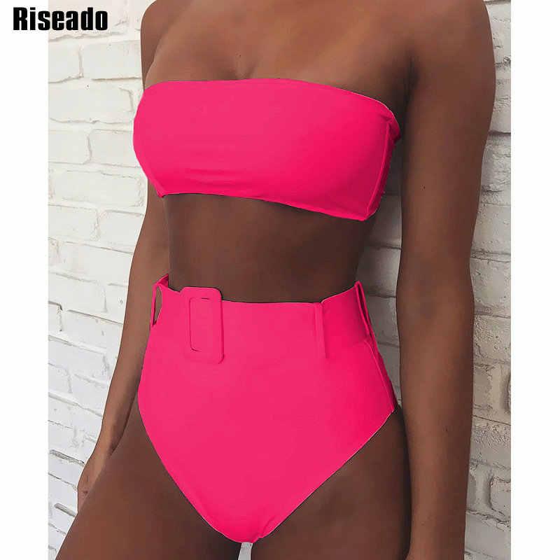 Riseado 2020 סקסי ביקיני שחור בגדי ים נשים בגד ים מותן גבוה לדחוף את ביקיני ברזילאי Biquini מוצק חגור חוף ללבוש