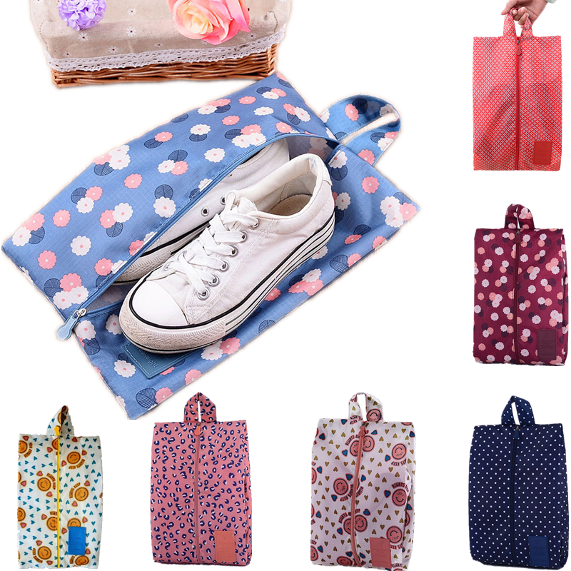 Portable Waterproof Travel Shoe Bag Nylon Storage Bag Pouch Convenient Storage Organizer Shoes Sorting Cosmetic Bag Zipper Tote