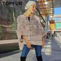 TOPFUR 2019 abrigo de invierno para mujeres abrigo de piel Real con cremallera chaqueta de cuero para mujeres abrigo de piel de conejo Rex chaqueta de piel de conejo