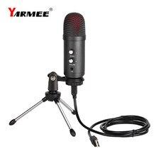 Yarmee profissional usb computador condensador microfone kalmic mic para gravação de computador cantando youtube gaming podcast studio yr06