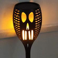 Outdoor Halloween Ghost Face Solar Flame Torch LED Lamp Lawn Light Garden Decor Solar Powered Ghost Face Design Party Decoration все цены