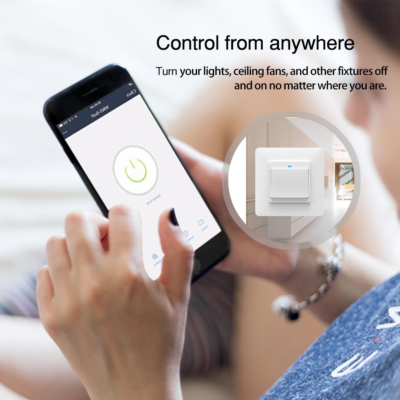 Wifi Interruptor Inteligente,Interruptor Tactil Sensor Interruptores Inalambricos Inteligente para Hogar Enchufe blanco de la UE AC100V-240V