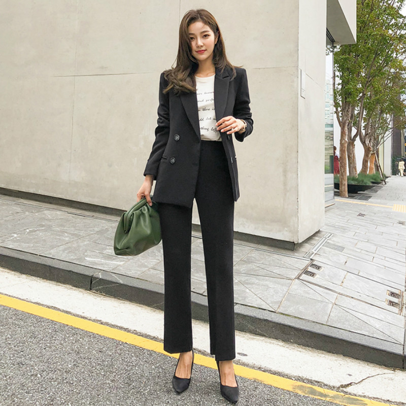 High Quality Women's Suits Pants Set 2019 New Autumn Slim Office Black Ladies Jacket Blazer Casual Trousers Suit Two-piece