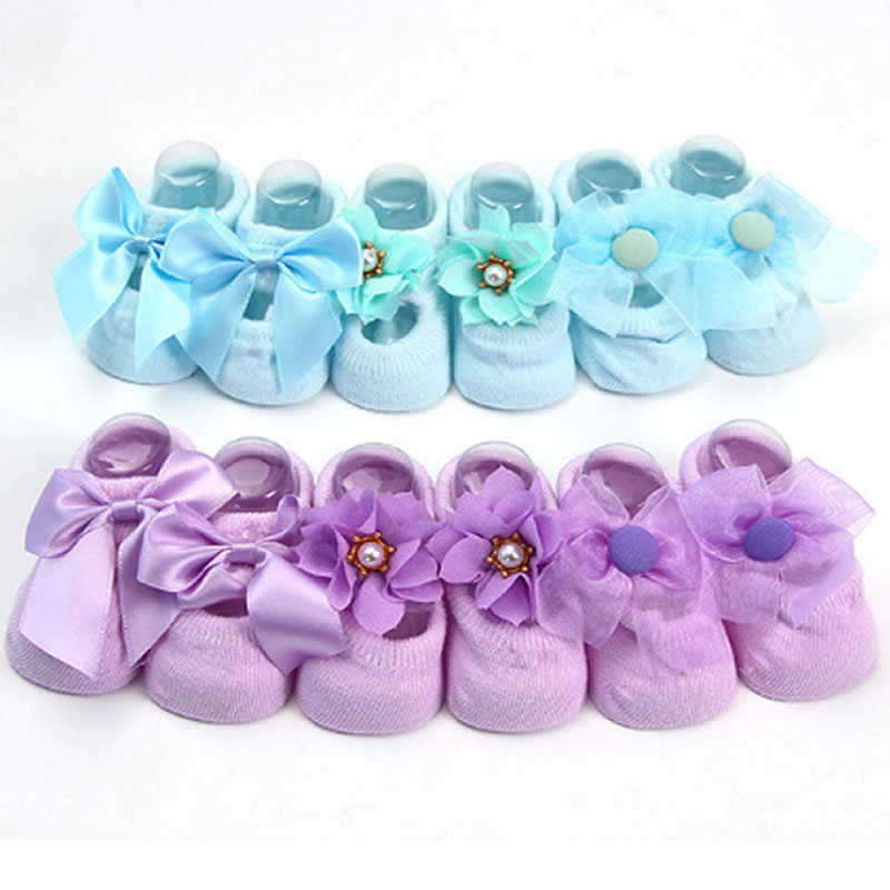 New Baby Baby Thin Cotton Socks Floor Combed Cotton Bud Silk Flowers Bow Antiskid Ship Rubber Toddler Baby Non-slip Socks Point
