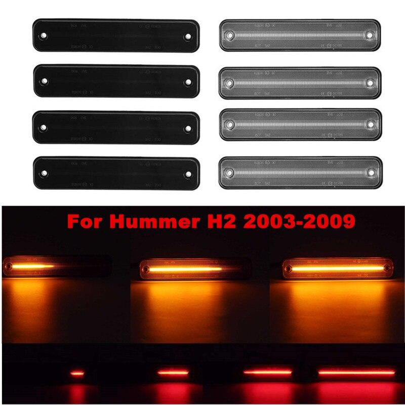 2/4 adet ön ve arka LED yan işaretleyici tekrarlayıcı ışıkları akan yan dönüş sinyal ışığı gösterge lambaları Hummer h2 2003-2009