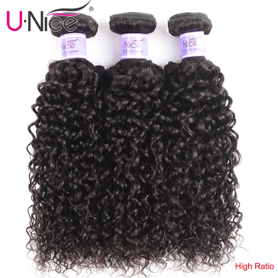 UNice Hair Kysiss Series Curly Brazilian Virgin Hair Weave 3 Bundles Natural Color 100% Human Hair Extensions 8-26Inch