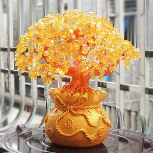 Image 5 - 19cm Lucky Tree Wealth Yellow Crystal Tree Natural Lucky Tree Money Tree Ornaments Bonsai Style Wealth Luck Feng Shui Ornaments