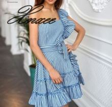 Xnxee dress summer new 2019 European and American explosions striped ruffled polyester cotton womens clothing