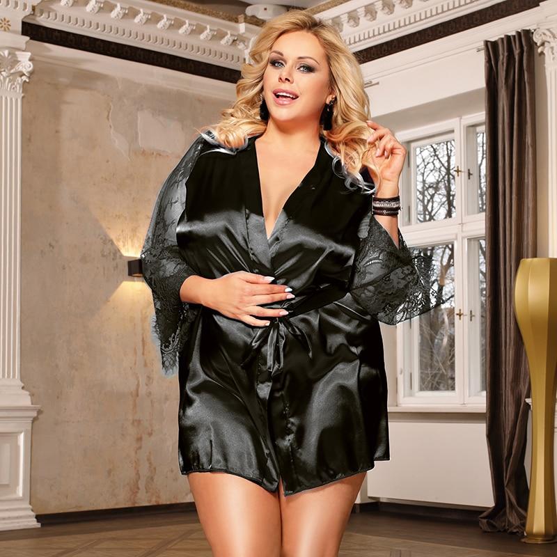 Image 4 - Comeonlover Womens Robes Sleepwear Lace Satin Sexy Conjunto Robe Chemise With Waist Belt Plus Size 5XL Bride Bathrobe RE80556Robes   -