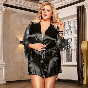 Image 4 - Comeonlover kadın elbiseler pijama dantel saten seksi Conjunto elbise Chemise bel kemeri artı boyutu 5XL gelin bornoz RE80556