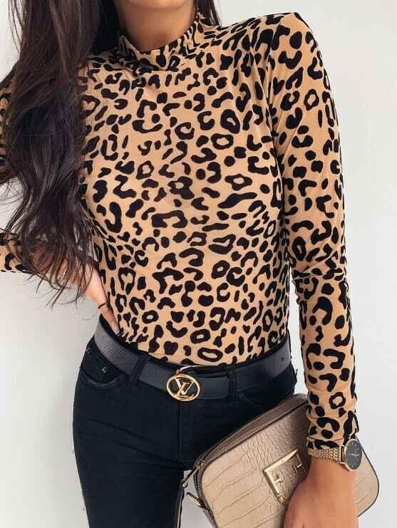 סתיו אופנה נשים Leopard מודפס חולצות משרד ליידי של חולצה עומד צווארון ארוך שרוולים אוניברסלי Slim חולצות חולצות חמה