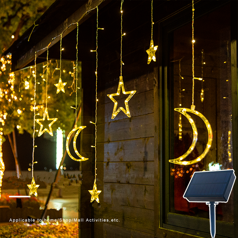 Solar Fairy Lights Garden Garland 123LED String Lights With Remote Control Solar Light Moon Star Lamp Waterproof Christmas