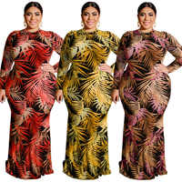 Женское вечернее платье-водолазка, элегантное платье размера плюс с длинным рукавом и сумкой в пол из полиэстера для осени