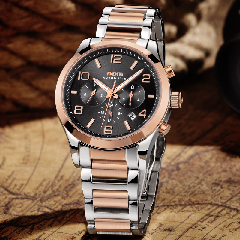 DOM (Dom) Men Fully Automatic Analog Watch Genuine Product Clean Steel Sports Waterproof Multi-functional M-812G-1M