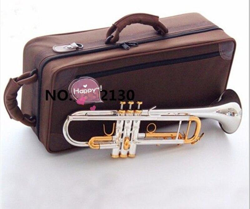 Trombeta de Prata qualidade Superior banhado a OURO CHAVE LT180S-72 Plana sino Top instrumentos musicais de Bronze Bb Trompete Profissional