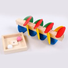 Montessori Educational Toy Wooden Tree Marble Ball Run Track Game Baby Kids Children Intelligence Educational Toy kids intelligence toy dancing stand colorful rocking giraffe wooden toy