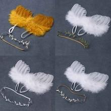 Реквизит для фотосъемки новорожденных, белые крылья ангела, реквизит для детской фотосъемки, крылья перьев для мальчиков и девочек, аксессуары для волос для детской фотосъемки