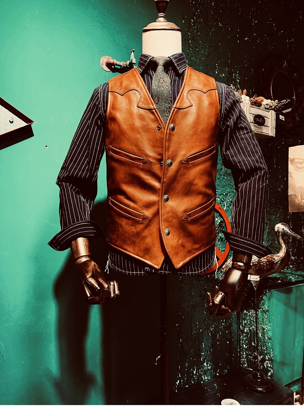 YR!Free Shipping.Cool Japan Tanned 1.1mm Cowhide V-neck Vest.Vintage Style Leather Vest,fashion Slim Genuine Leather Coat,