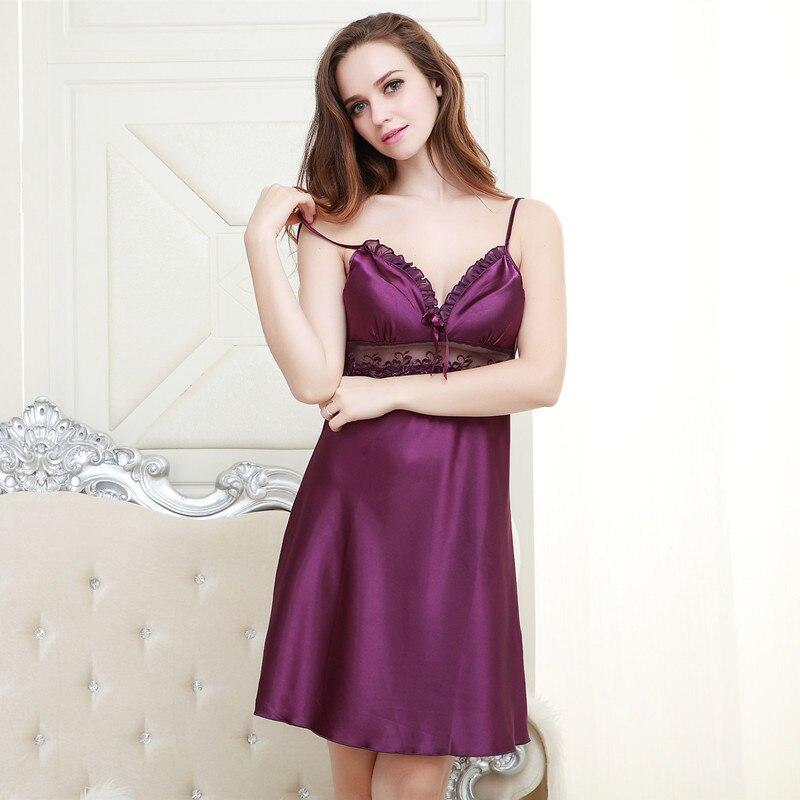 Summer Sexy Nightgown Women's Spaghetti Strap Pajamas Lace Edge Imitated Silk Fabric Thin Nightgown Temptation Women's
