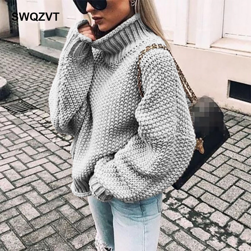 Warm Knitted Turtleneck Sweater Women Casual Jumper Fashion Winter Pullover Tops New Sweaters Ladies Streetwear Clothes 2019
