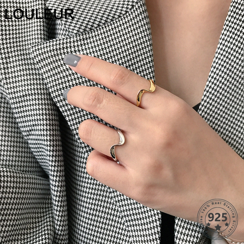 LouLeur 925 Silver Sterling Wave Couple Rings Golden Irregular Minimalist Open Rings For Women Fashion Silver 925  Jewelry Gifts