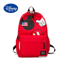 Disney 2019 New Mickey Backpack Polyester American Flag Teenager Schoolbag Young People School Bag for Boys and Girls