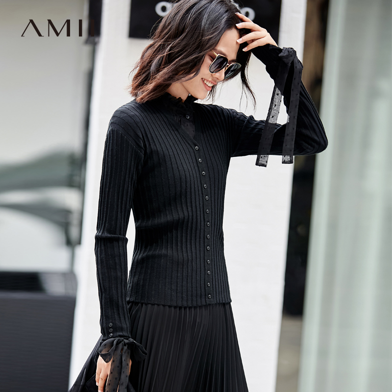 Amii Minimalism Spring Knit Slim Sweater Women Causal Vneck Full Sleeves Single-breasted Cardigan 11767713