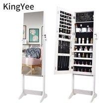 KingYee-Espejo de longitud completa para dormitorio armario de almacenamiento de joyas multifuncional, espejo de longitud completa para el hogar, montaje en pared, mod