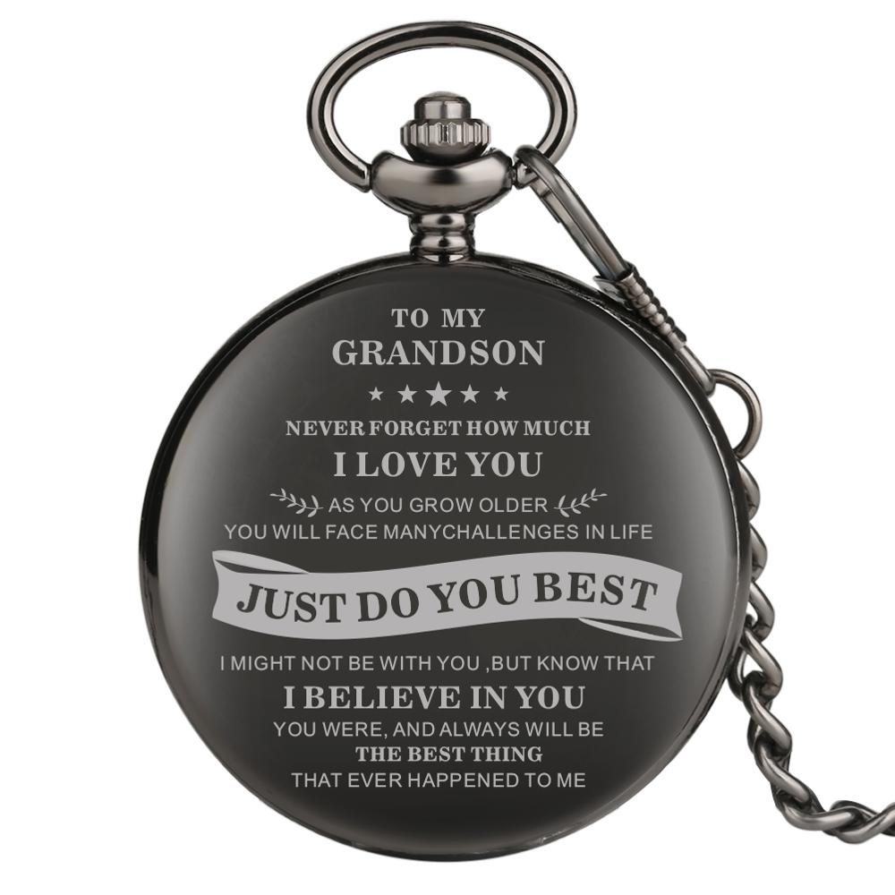 To My Grandson Series Pocket Watch Black Pocket Watches For Grandson Alloy Thick Link Chain Pendant Watch