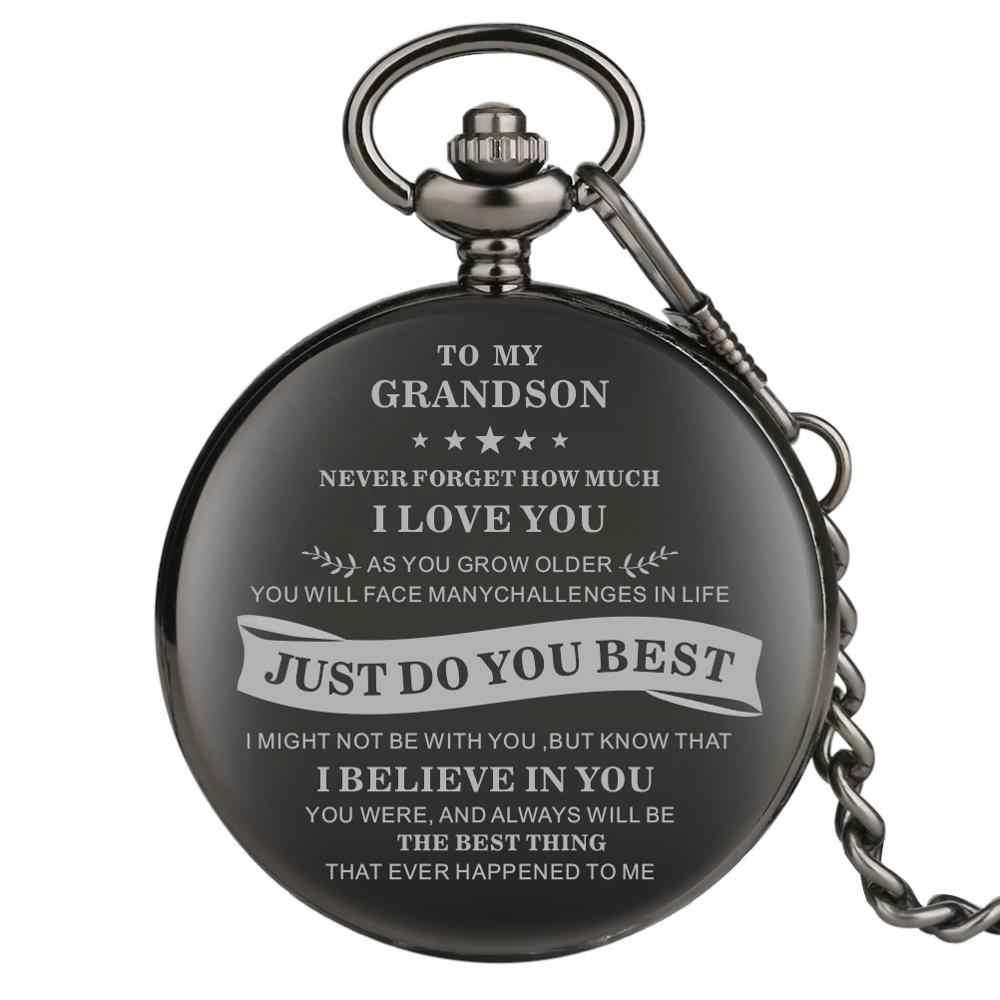 À mon petit-fils série montre de poche noir montres de poche pour petit-fils alliage épais lien chaîne pendentif montre