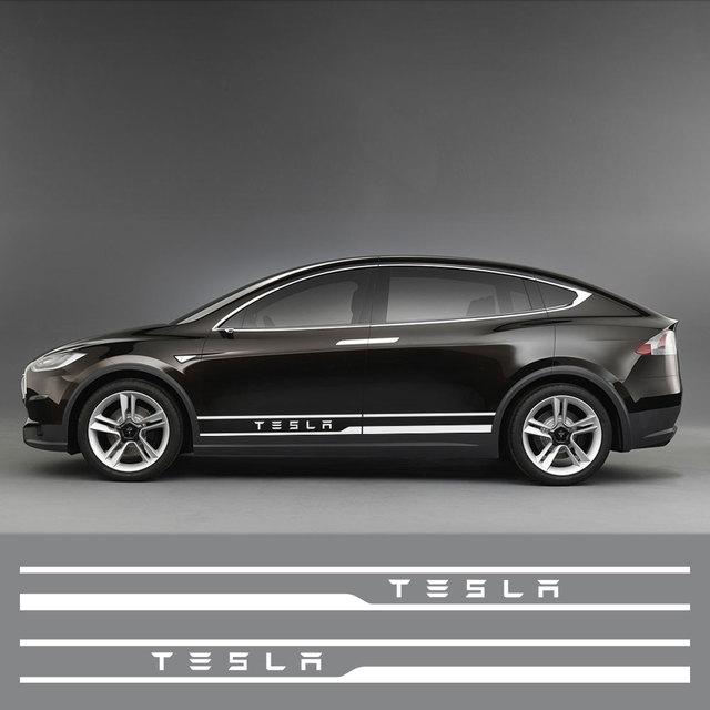 1Pair Car Styling Door Side Waist Skirt Stickers Decals Exterior Body Sticker Stripe Trim Decoration for Tesla Model 3 Mode X S 3