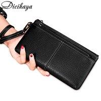Bolsa feminina azul/preto/rosa/cinza/laranja carteira feminina couro longo bolsa de celular 2020 sólida moda titular do cartão Carteiras     -