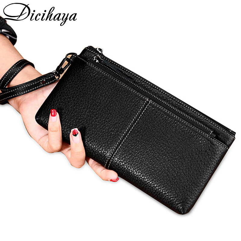 Purse Women Blue/black/pink/Gray/orange Wallet Female Cowhide Leather Long Women Cellphone Bag 2020 Solid Fashion Card Holder