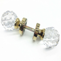 Clear zinc alloy gold plated and Chrome plated Solid K9 crystal diamoned double big door handle invisible door knob 60mm