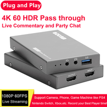 Recording-Box Gamepad Pass-Through Live-Streaming Card-Video Audio-Input HDMI To 60fps