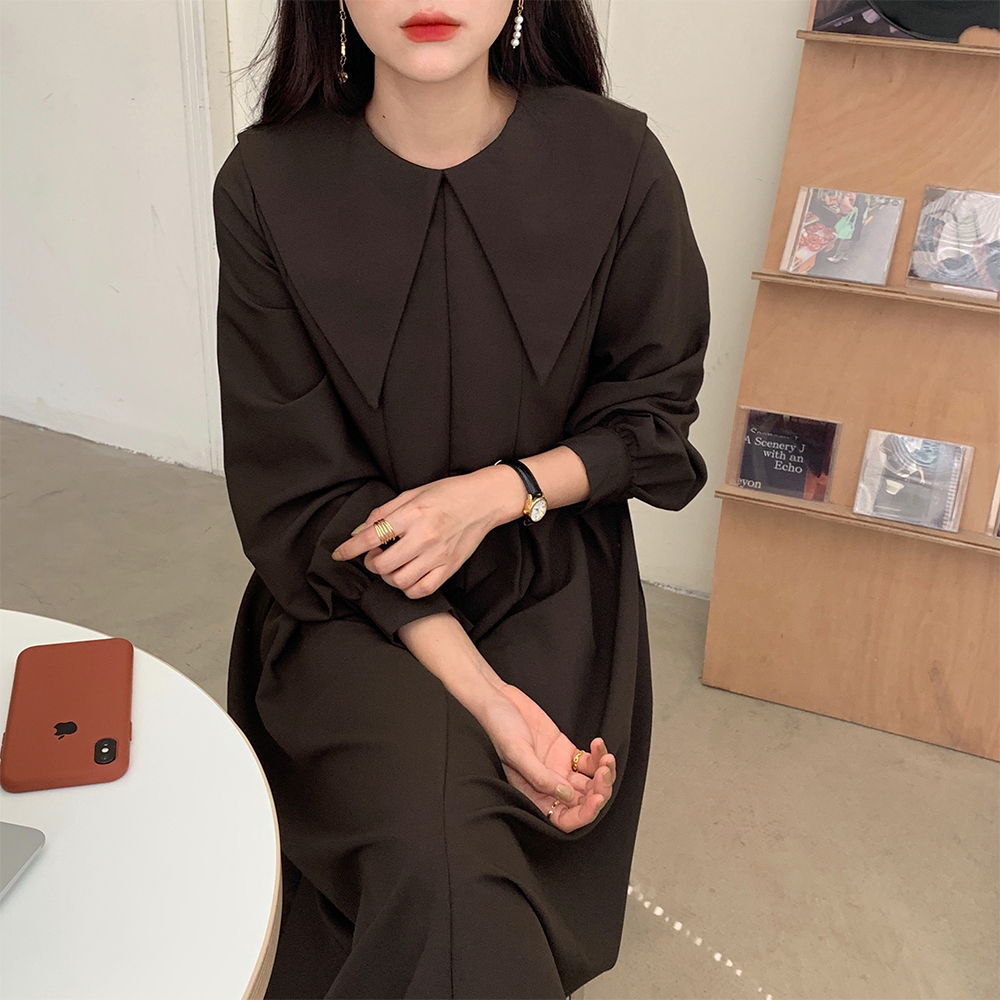 H581c002036804fd88e12448f7d4cfdddw - Autumn Big Lapel Collar Long Lantern Sleeves Solid Loose Midi Dress
