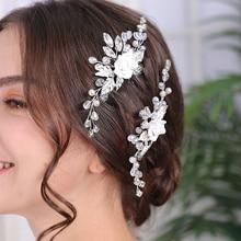 Hairpin Headdress Tiara Bride's-Accessories Flower Bridal-Headwear Rhinestone Wedding